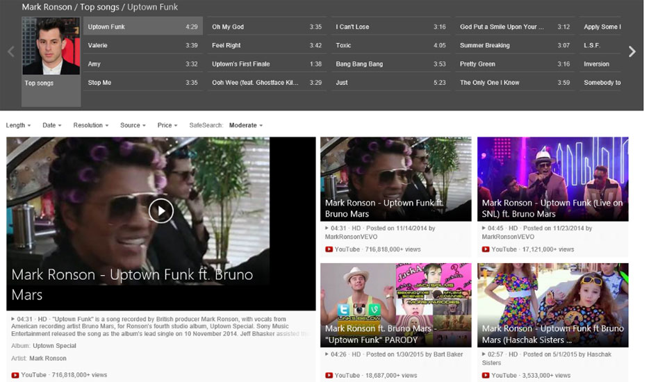 Bing's smarter video search is big on music