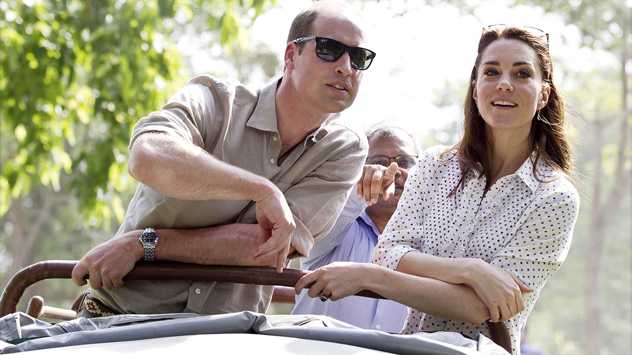 GUWAHATI, INDIA - APRIL 13:  Catherine, Duchess of Cambridge and Prince William, Duke of Cambridge take a Game drive at Kaziranga National Park at Kaziranga National Park on April 13, 2016 in Guwahati, India.   (Photo by Heathcliff O'Malley - WPA Pool/Getty Images)
