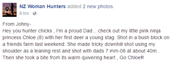 New Zealand Dad Shares Photo Of Young Daughter Biting Heart Of Freshly Killed Deer
