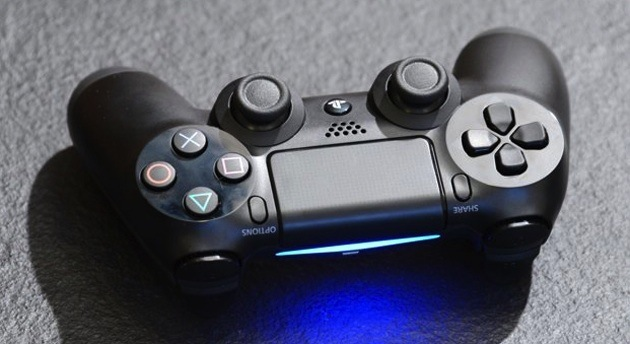 Sony DualShock 4 controller with its light bar on