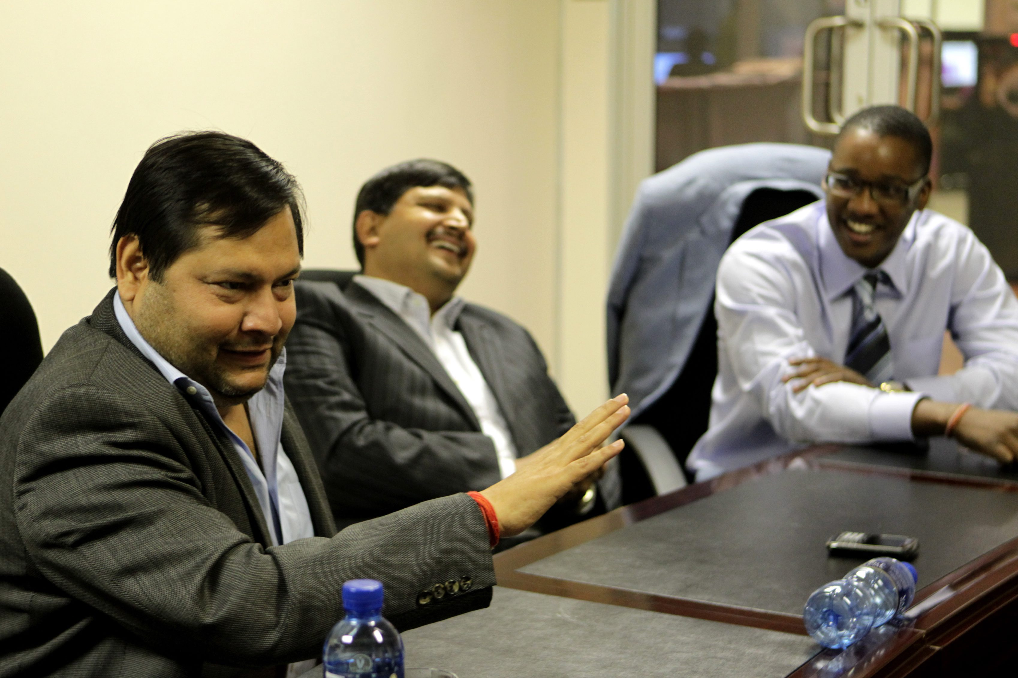 JOHANNESBURG, SOUTH AFRICA - 4 March 2011: Indian businessmen Ajay and Atul Gupta, and Sahara director, Duduzane Zuma speak to the City Press from the New Age Newspaper's offices in Midrand, Johannesburg, South Africa on 4 March 2011. (Photo by Gallo Images/City Press/Muntu Vilakazi)