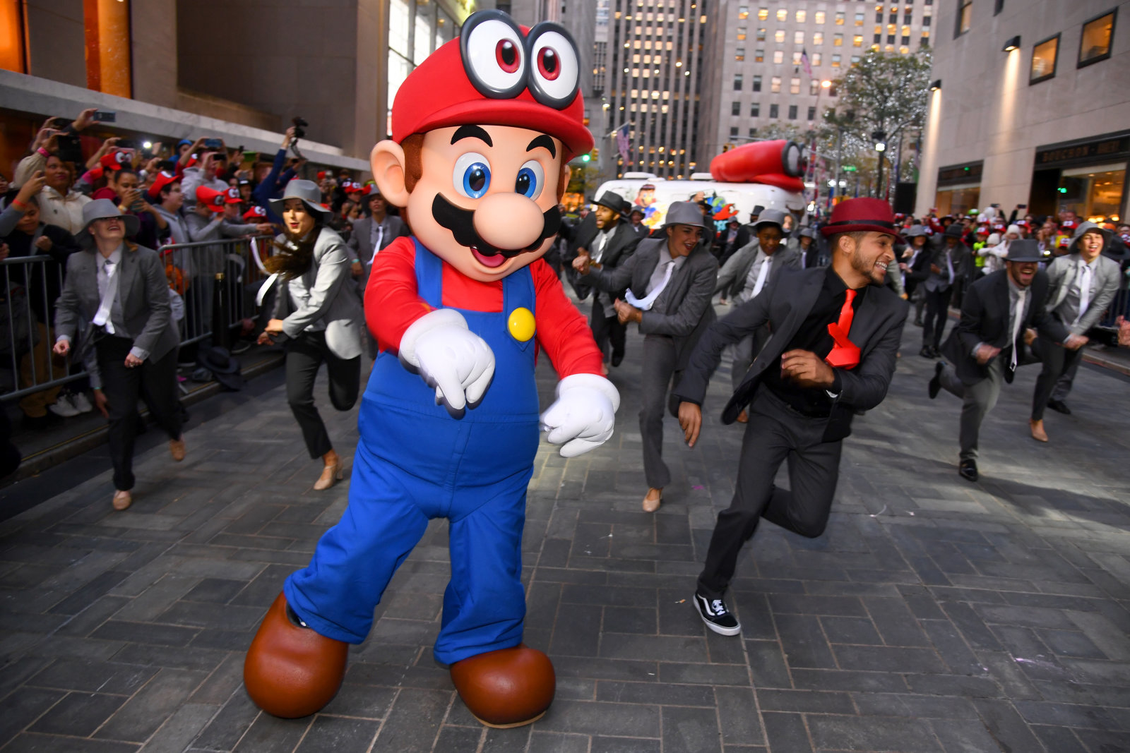 NEW YORK, NY - OCTOBER 26:  Mario and Jordan Fisher, actor, recording artist and current contestant on Dancing with the Stars co-hosts the Super Mario Odyssey for Nintendo Switch launch event on October 26, 2017 at Rockefeller Plaza in New York City.  (Photo by Dave Kotinsky/Getty Images for Nintendo of America)