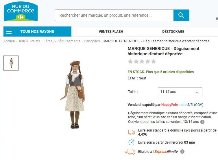 Déguisement d'enfant déporté en vente : Rue du Commerce s'excuse