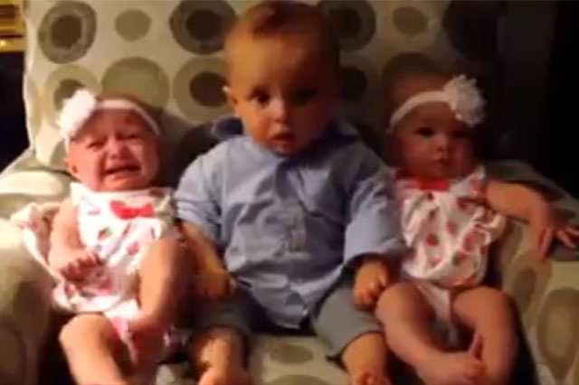 Seeing double! Hilarious video shows baby baffled by twins