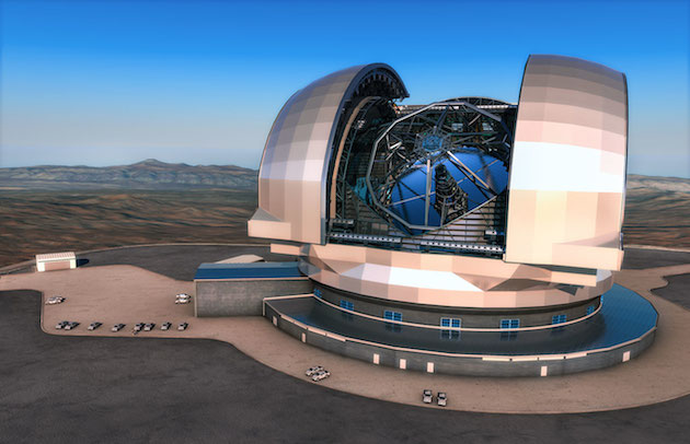 This artist's impression shows the European Extremely Large Telescope (E-ELT) in its enclosure. The E-ELT will be a 39-metre aperture optical and infrared telescope sited on Cerro Armazones in the Chilean Atacama Desert, 20 kilometres from ESO's Very Large Telescope on Cerro Paranal, which is visible in the distance towards the left.