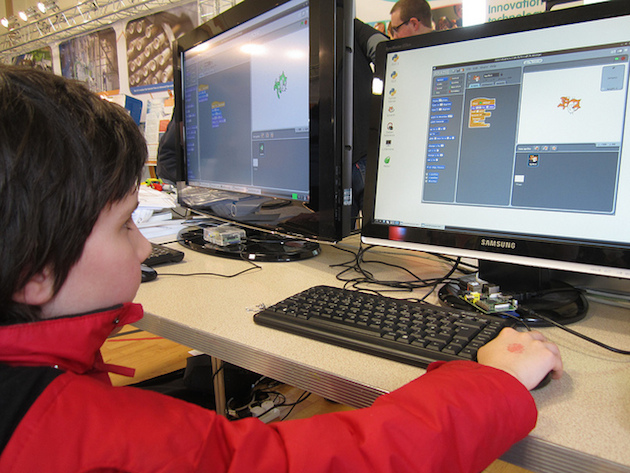 Kid Playing Minecraft At School