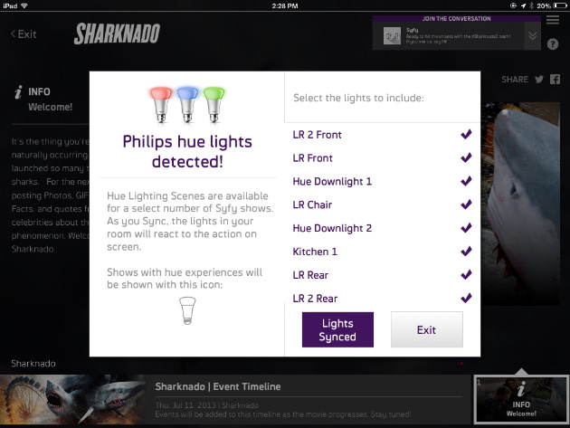 Watching 'Sharknado' with Syfy Sync and Philips Hue