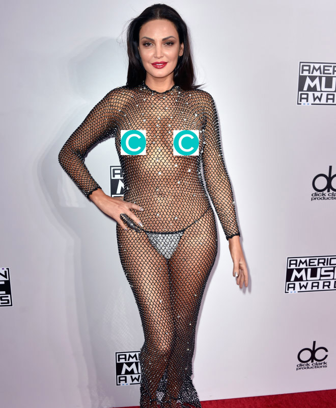 This pop star basically wore nothing to the american music awards
