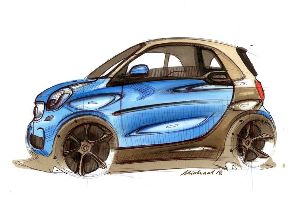 ‭smart, smart fortwo, design sketch, fgrafik, erste Bilder, der neue smart fortwo, der neue smart forfour,   premiere, offiziell, revealed, leaked, debüt, debut