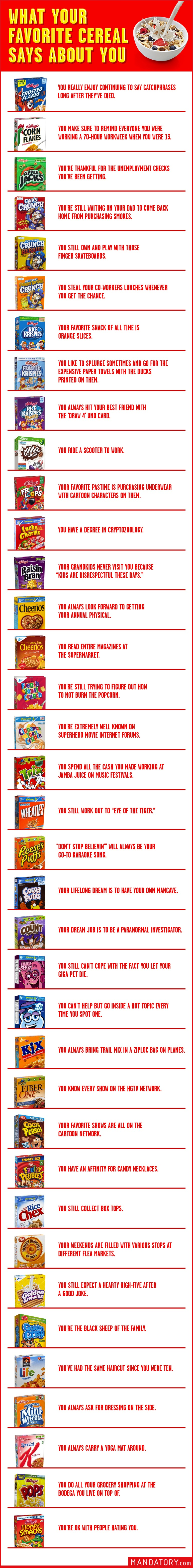 what your favorite cereal says about you, favorite cereal, best cereal
