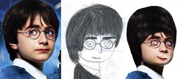 best worst examples of celebrity fan art, bad celebrity drawings, daniel radcliffe