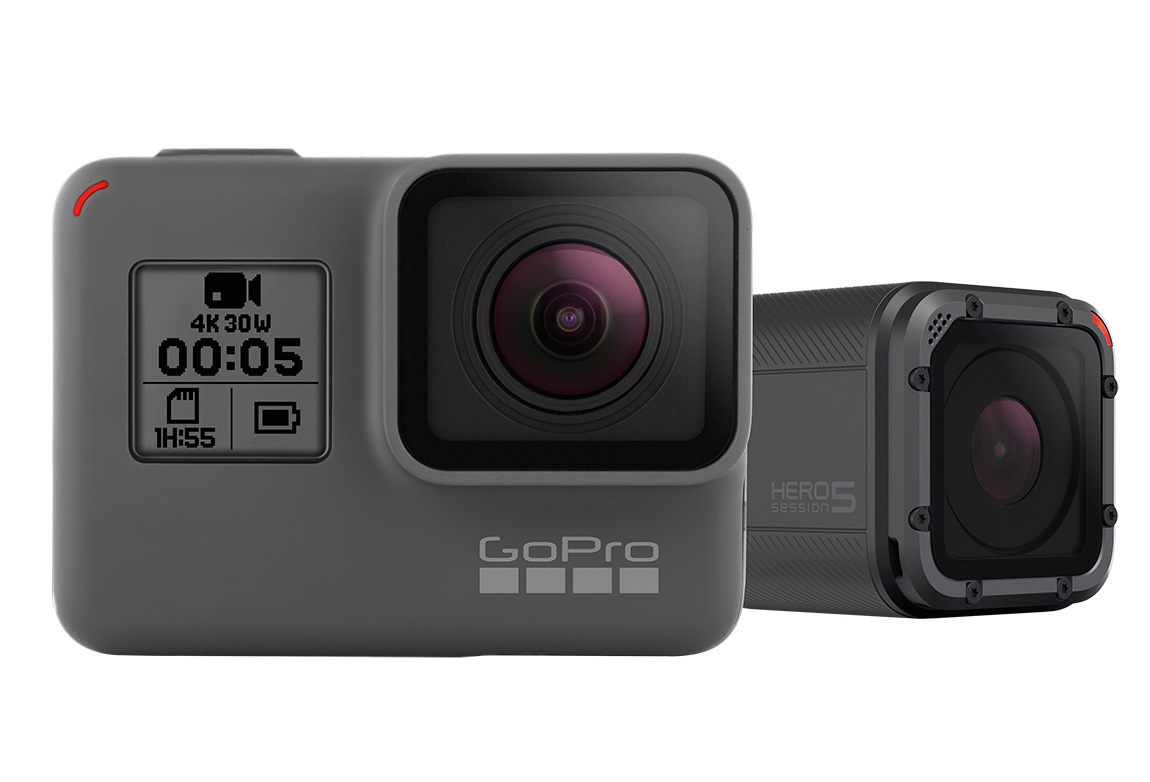 アクションカメラのGoProが、主力製品Heroシリーズの最新モデル Hero5 Black および Hero5 Session を発表しました。いずれも4K/30fpsでの撮影に対応し、手ぶれ補正