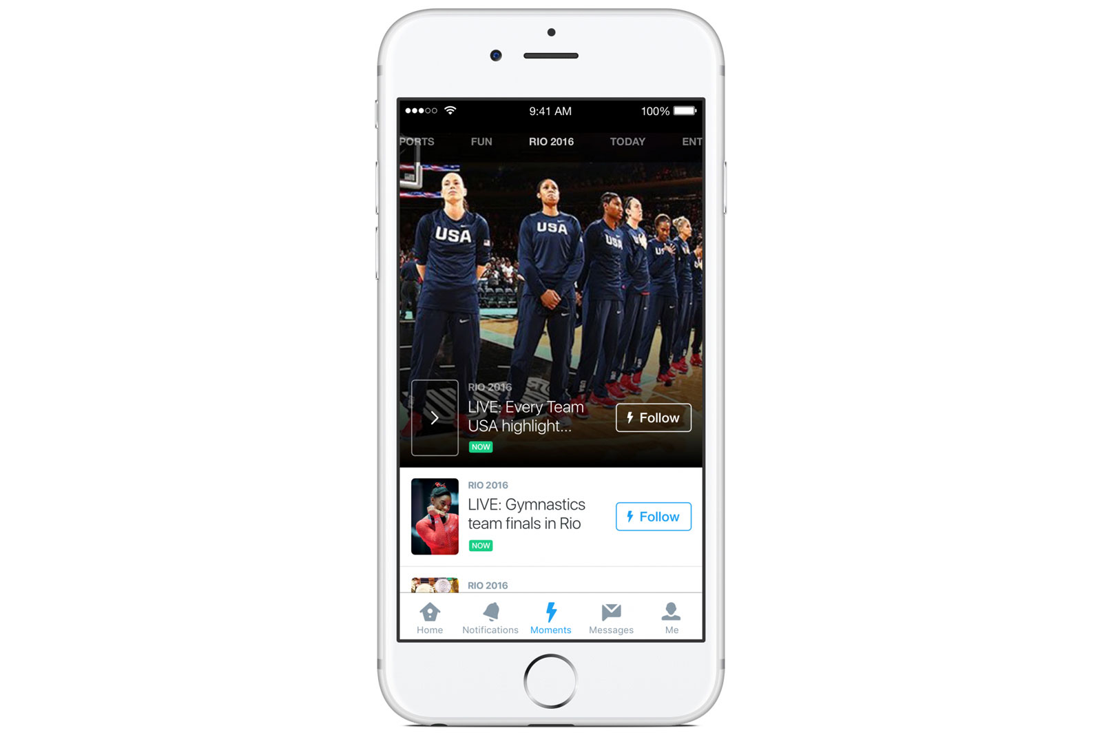 Twitter Moments covering the Rio Olympics