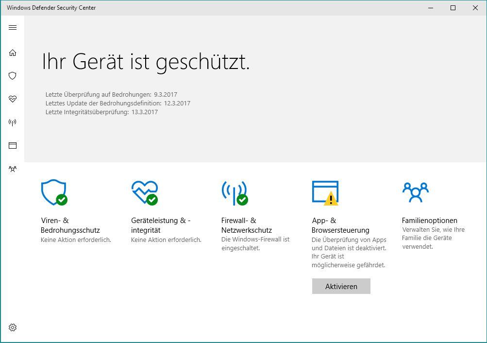 Neue Funktion für Windows Defender im Creators Update