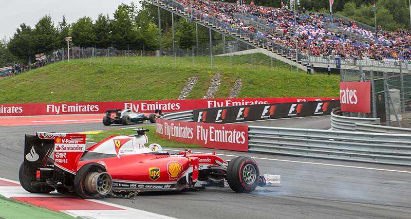 Ferrari's German driver Sebastian Vettel car is seen after a crash during the Formula One Grand Prix of Austria at the Red Bull Ring in Spielberg, Austria on July 3, 2016.