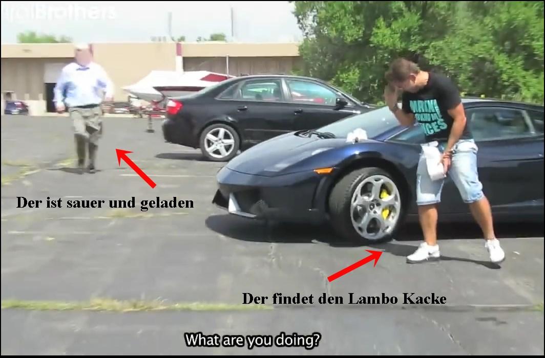prank, verarsche, Lamborghini, streich, witzig, komisch, video, elektro-schocker, brutal, car crime, video,