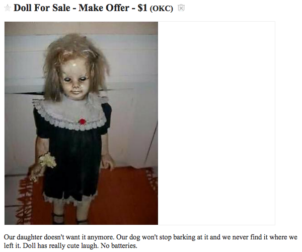 creepy craigslist doll, scary doll