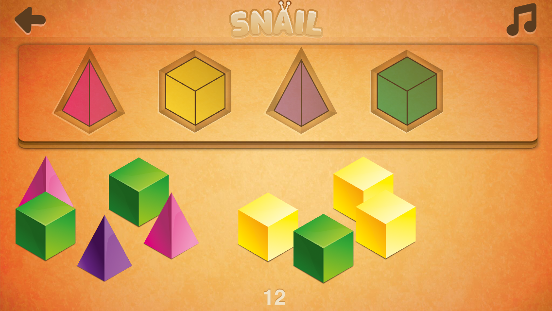 Players match multiple shapes and colors in Snail game