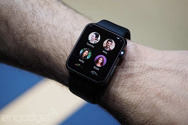 Apple Watch Sport showing favorite contacts