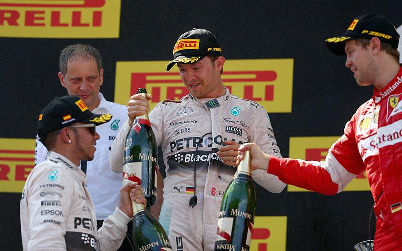 The podium at the 2015 Spanish Formula One Grand Prix.