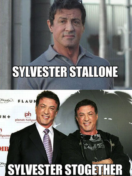 celebrity name puns, celebrity opposite names, sylvester stallone stogether