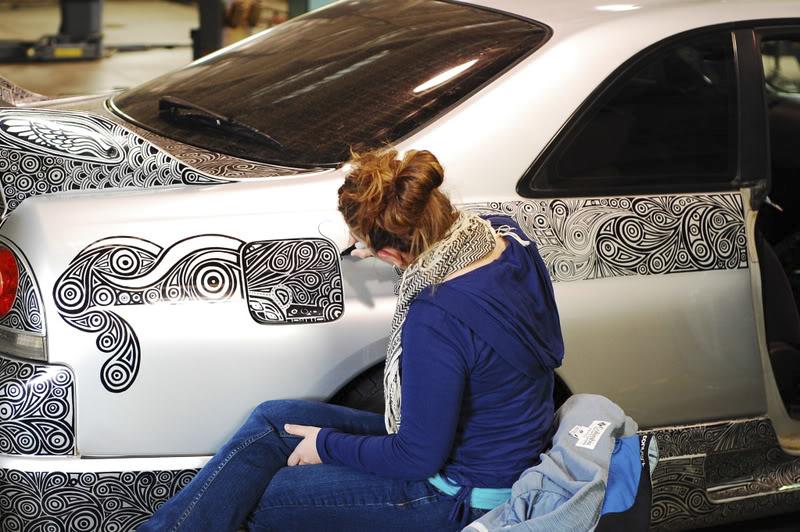 Artist Draws All Over Husbands Nissan GTR With A Sharpie And - Artist wife doodles husbands car