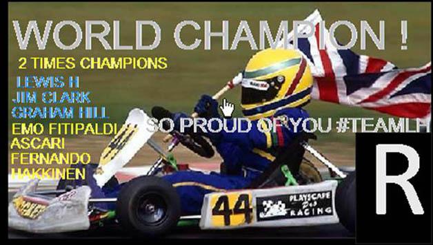 メルセデスF1チーム、ステアリングのスクリーンにサプライズ画像を映して、王者ハミルトンを祝福!