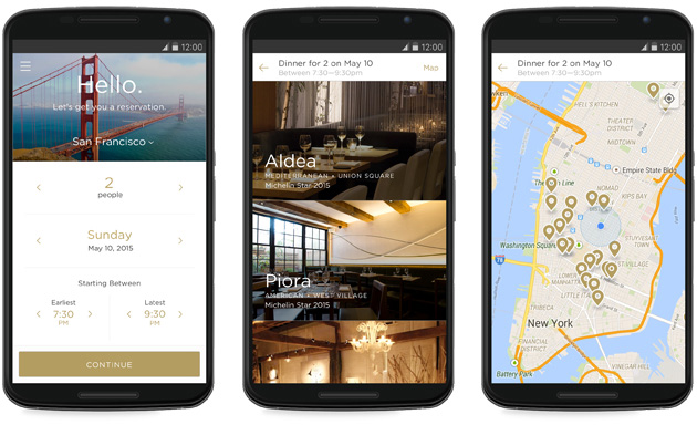 Reserve's concierge app on Android