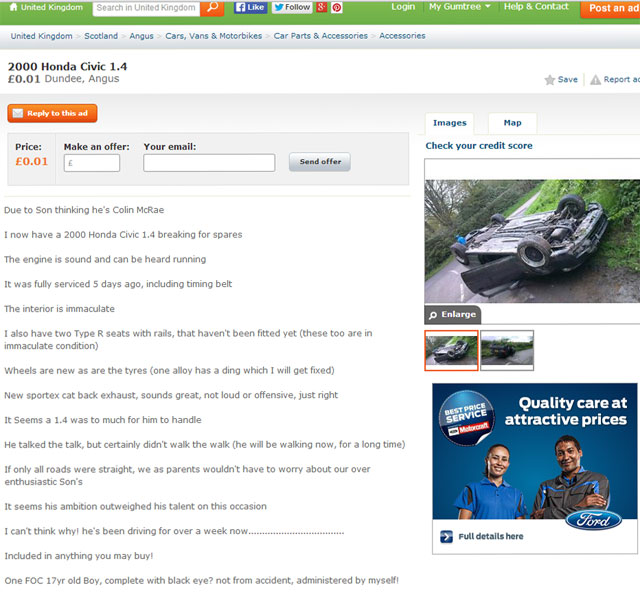 Dad sold son's Honda Civic on gumtree