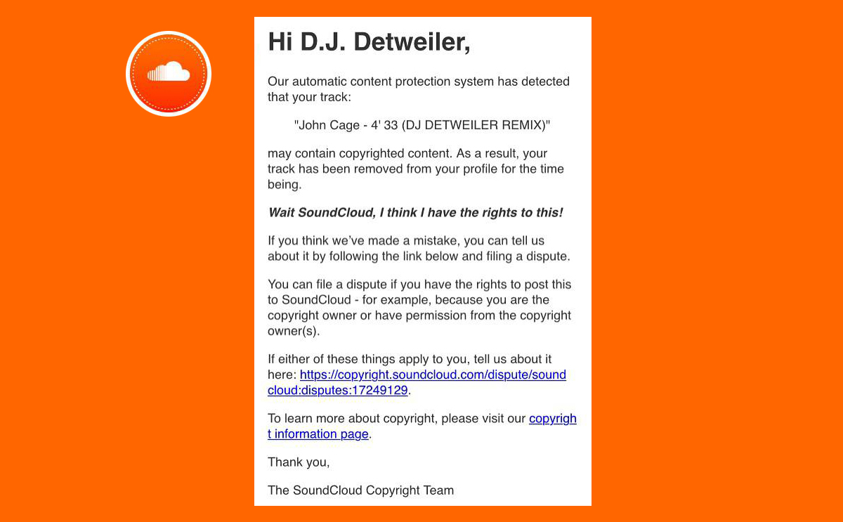 No, SoundCloud didn't remove a silent track for violating copyright