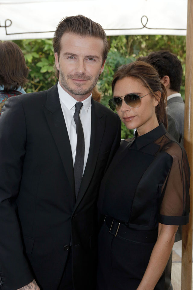 LOS ANGELES, CA - OCTOBER 23: David Beckham and Victoria Beckham attend the 2013 CFDA/Vogue Fashion Fund Event Presented by thecorner.com and Supported by Audi, Living Proof, and MAC Cosmetics at Chateau Marmont on October 23, 2013 in Los Angeles, California. (Photo by Jeff Vespa/WireImage)