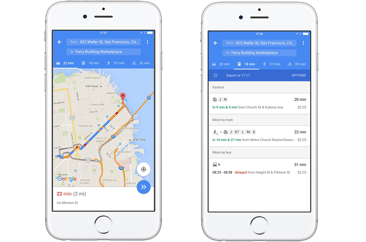 Google Maps for iOS shows you the fastest way to travel in one page