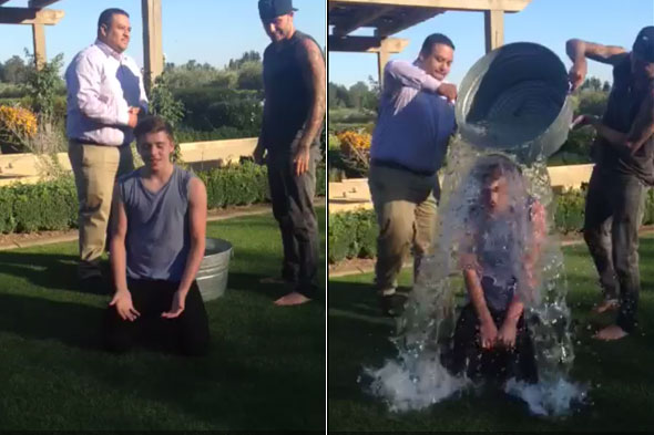 Brooklyn Beckham follows in dad David Beckham's footsteps and takes the Ice Bucket Challenge filmed by Victoria Beckham