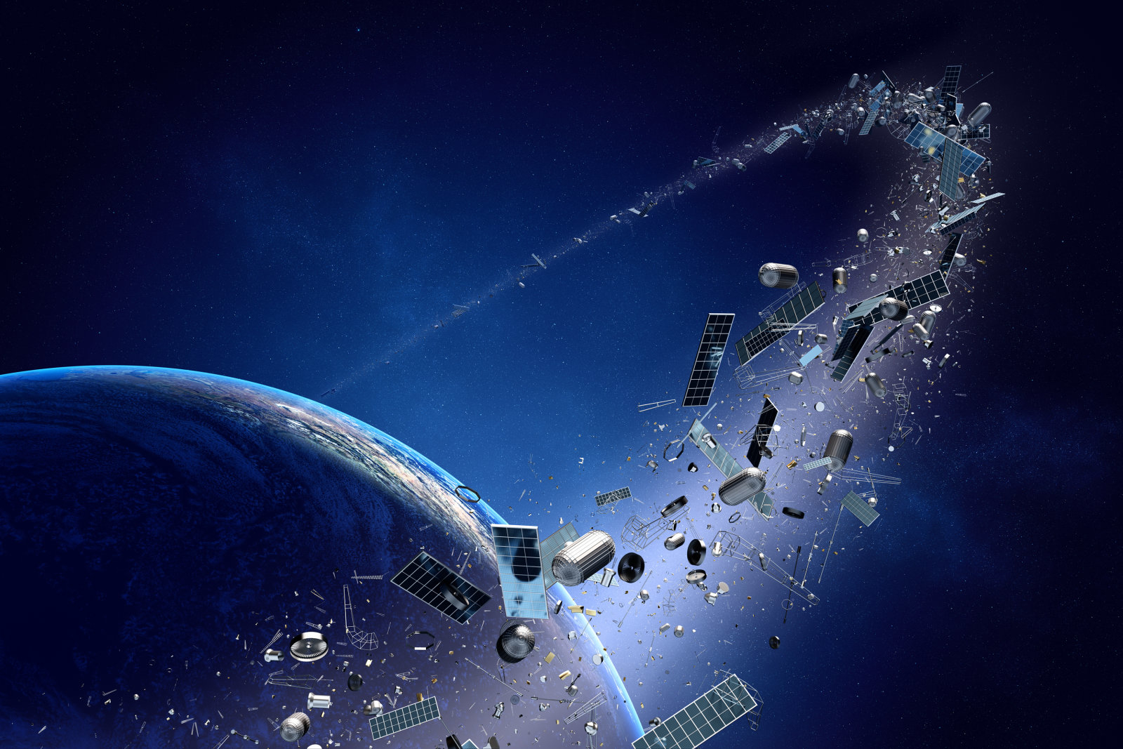 Space junk orbiting around earth - Conceptual of pollution around our planet (Texture map for 3d furnished by NASA -  http://visibleearth.nasa.gov/)