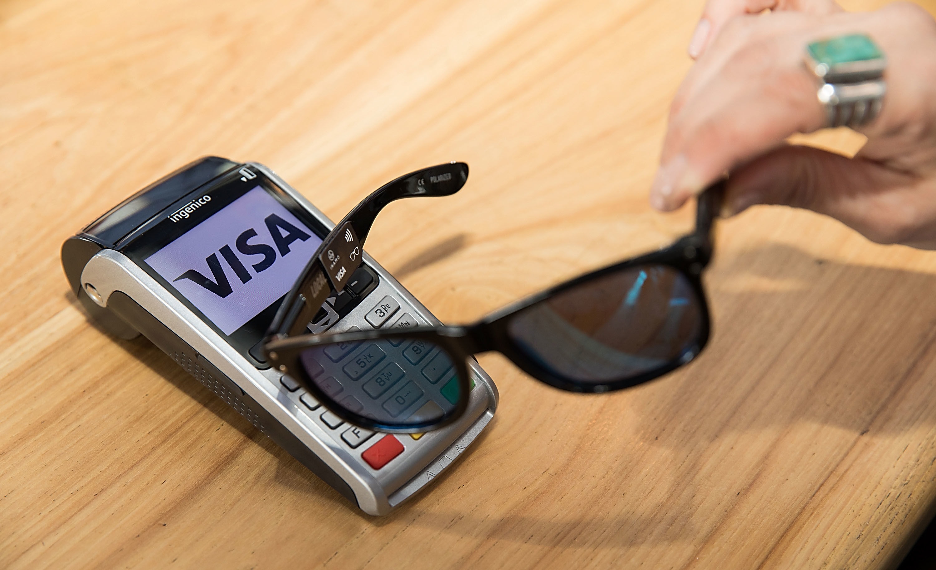 AUSTIN, TX - MARCH 13:  Visa unveils prototype of contactless payment sunglasses from the Everywhere Lounge on March 13, 2017 in Austin, Texas.  (Photo by Rick Kern/WME IMG/Getty Images for VISA)