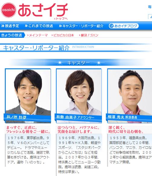 これは、『あさイチ』の前の番組である、NHK朝の連続ドラマについて司会の井ノ原快彦と有働由美子アナウンサーが、番組が始まってすぐに、それぞれドラマの感想を