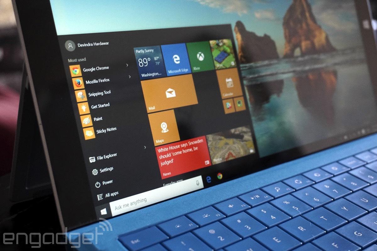Microsoft Edge on a Surface tablet