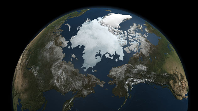 A satellite view of arctic ice