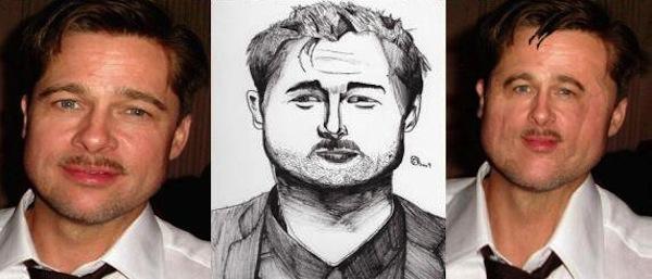 best worst examples of celebrity fan art, bad celebrity drawings, brad pitt