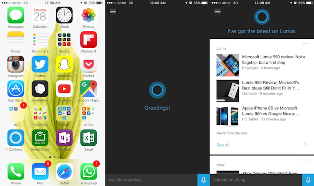 Microsoft's Cortana iPhone app rolls out to beta testers