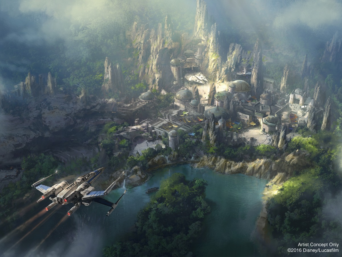 STAR WARS-THEMED LAND AT THE DISNEYLAND RESORT -- Walt Disney Parks and Resorts has released new artwork for the Star Wars-themed land being constructed at the Disneyland Resort in Anaheim, Calif. The new artist rendering shows the intriguing spaceport on a never-before-seen planet in the Star Wars galaxy. The 14-acre land will be the largest-ever single-themed land expansion at the Disneyland Resort. (Disney Parks/Lucasfilm)