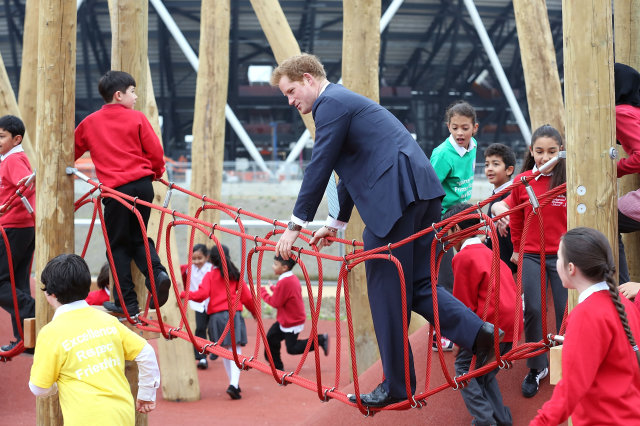 Prince Harry with children Queen Elizabeth Park