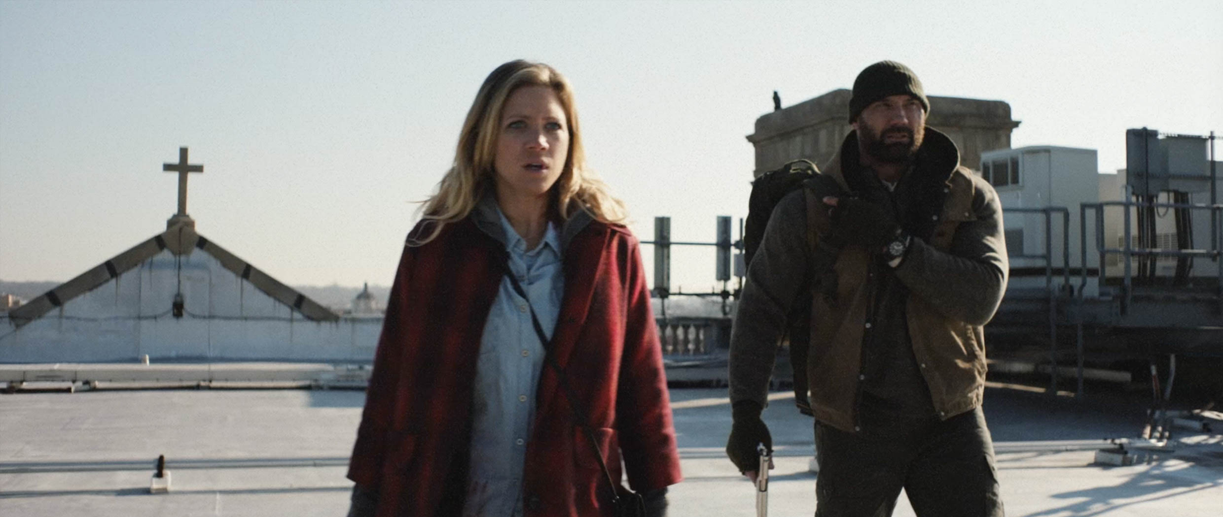 Brittany Snow and Dave Bautista appear in <i>Bushwick</i> by Cary Murnion and Jonathan Milott, an official selection of the Midnight program at the 2017 Sundance Film Festival. Courtesy of Sundance Institute   photo by Lyle Vincent.