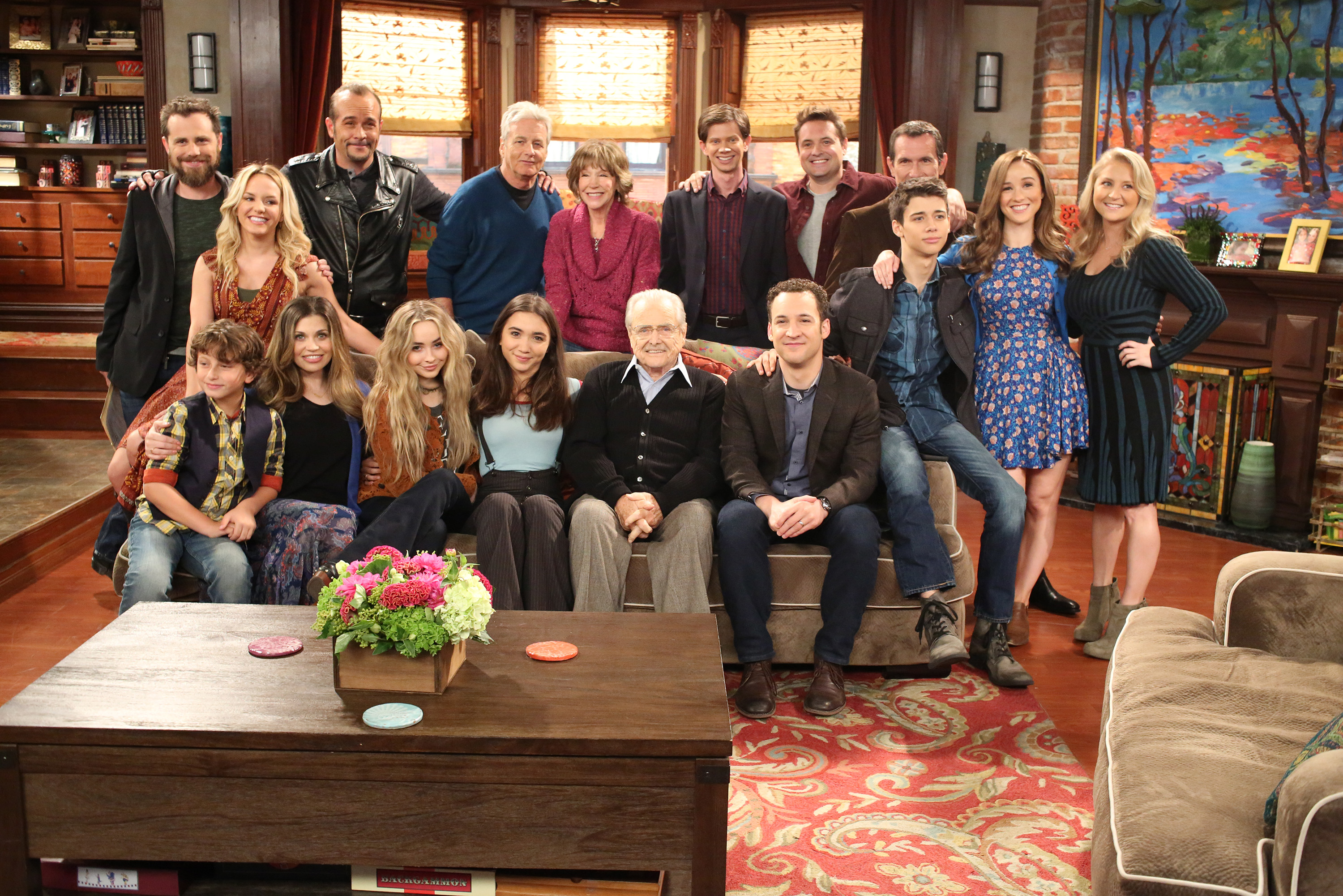 "GIRL MEETS WORLD - ""Girl Meets Ilha das Flores"" (Disney Channel/Ron Tom)BACK ROW: RIDER STRONG, CHERYL TEXIERA, DANNY MCNULTY, WILLIAM RUSS, BETSY RANDLE, LEE NORRIS, WILL FRIEDLE, ANTHONY TYLER QUINN;FRONT ROW: AUGUST MATURO, DANIELLE FISHEL, SABRINA CARPENTER, ROWAN BLANCHARD, WILLIAM DANIELS, BEN SAVAGE, URIAH SHELTON, LILY NICKSAY, LINDSAY RIDGEWAY, MICHAEL JACOBS"