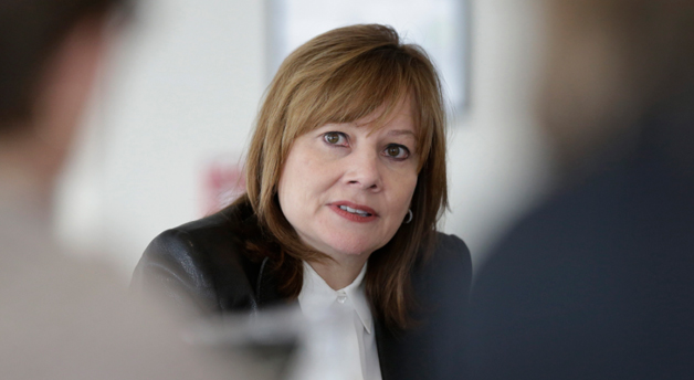 Mary Barra addresses select reporters during a media briefing in Detroit.