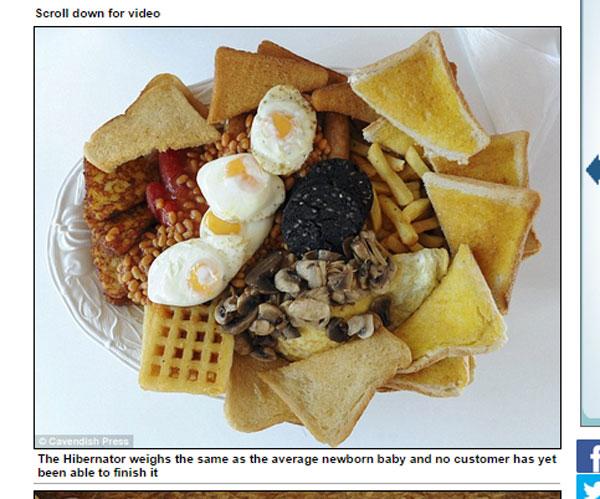 現在のところ完食者なし!あまりに「デカ盛り」すぎる朝食メニューが登場