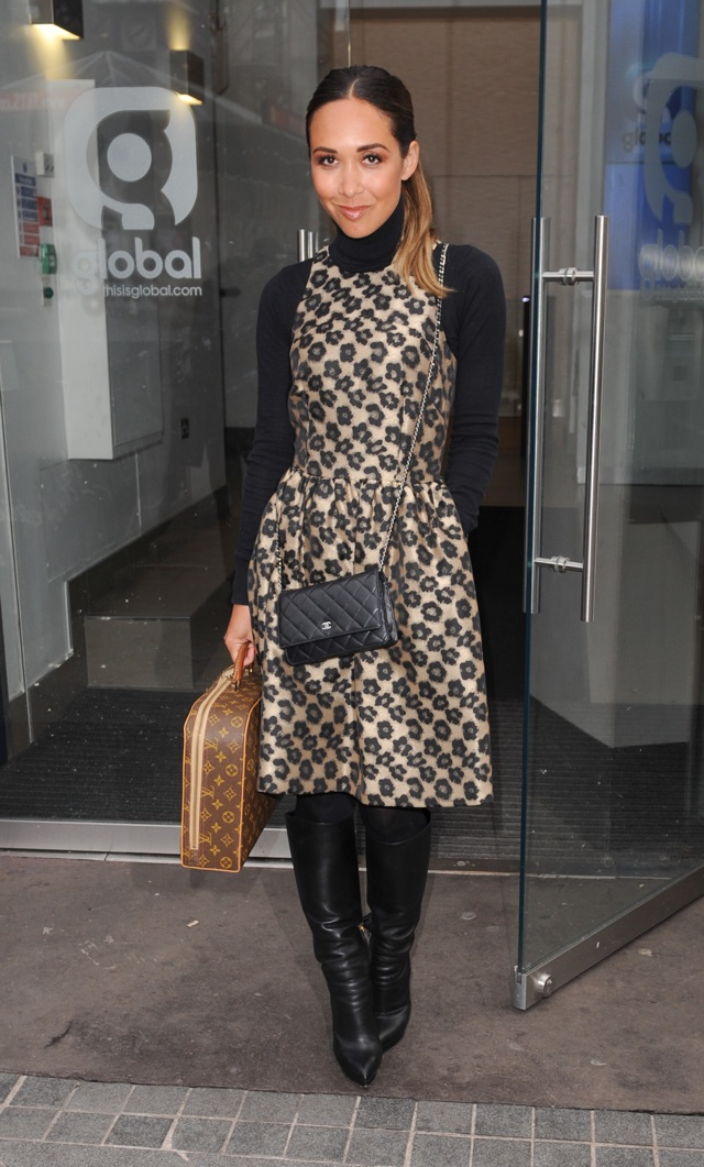 Myleene Klass works perfect winterwear in leopard-print dress