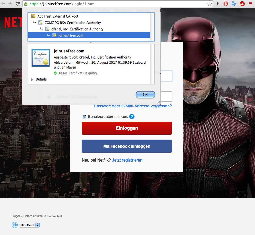 Screenshot des SSL-Zertifikats