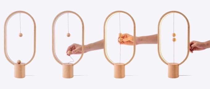 Das interessante Schalterdesign der Heng Balance Lamp