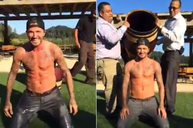 David Beckham takes on the Ice Bucket Challenge - and he's topless